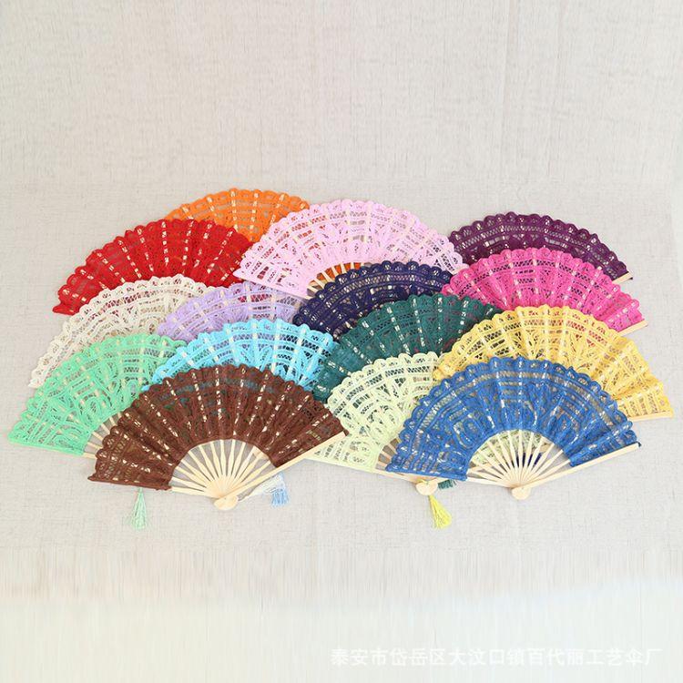 厂家批发定做百代丽花边蕾丝扇复古道具扇创意女士折叠扇子