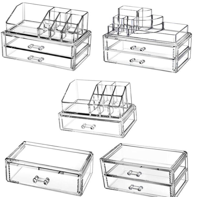 卡洛非型透明化妝品首飾口紅架展示盒水晶多層帶抽屜收納盒組合架
