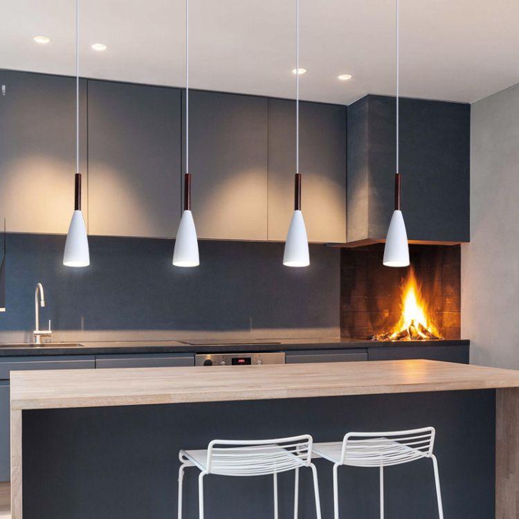 餐桌灯批发 单头锥形灯 铝艺木艺三头灯 马卡龙餐厅吊灯