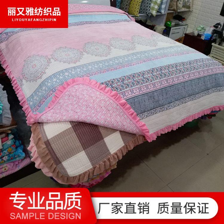 家纺床上用品纯棉绗缝被印花水洗被欧式夏季花卉床盖多用被