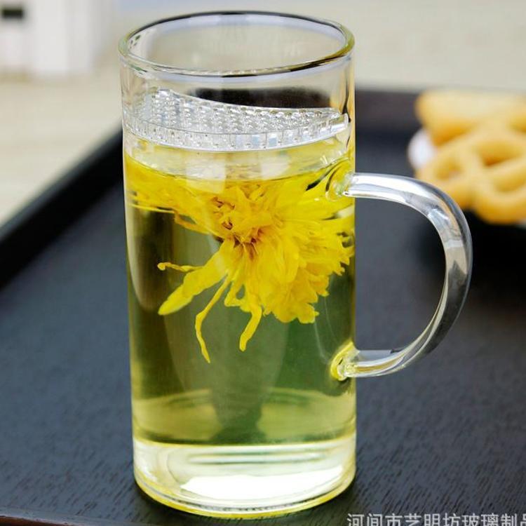 一体带盖月牙杯玻璃茶杯过滤泡茶杯办公杯花茶杯水杯男玻璃绿茶杯
