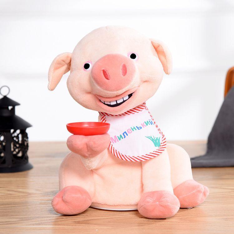 创意新款电动粉红猪玩具带托盘毛绒公仔猪娃娃早教道具厂家批发