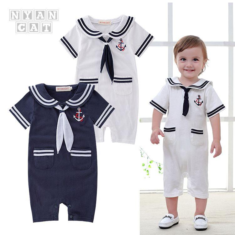 海军款婴儿童装 男童夏装短袖哈衣 领巾翻领连体衣爬服