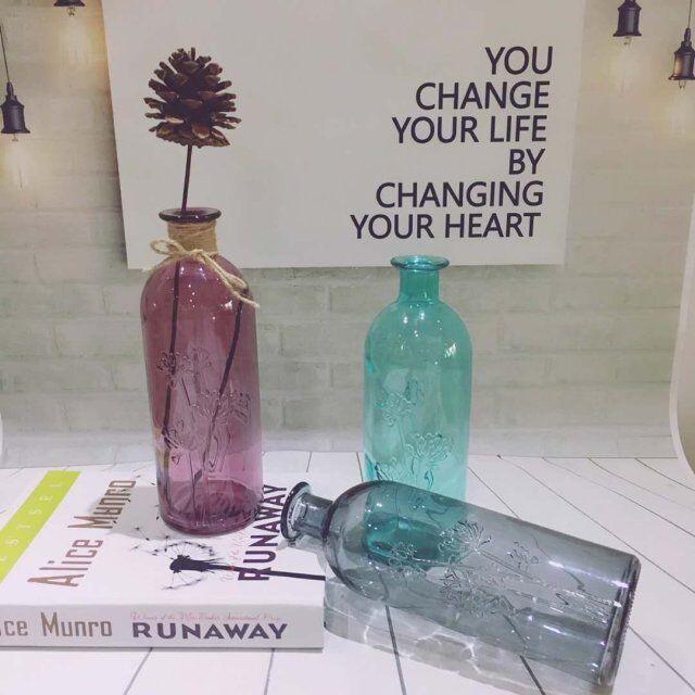 小清新玻璃透明小花瓶 餐桌花插小口细长玫瑰花瓶客厅迷你摆件