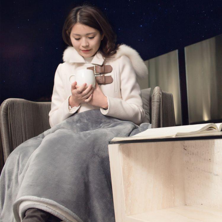 爱旅生活 午休膝盖毯子冬季保暖毛毯双层法兰绒羊羔绒懒人毯