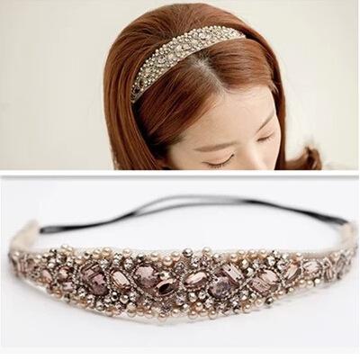 韩国官网宽发箍名媛风格 超仙珍珠水钻混合蕾丝发带纯手工头带