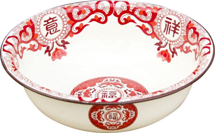 中式吉祥如意祥云图案婚庆珐琅脸盆 和面盆 加厚洗脸盆搪瓷盆