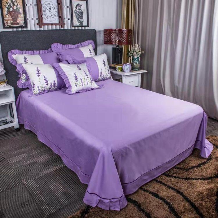 薰衣草花纹刺绣四件套 纯棉床上用品  全棉贡缎中国风床上四件套