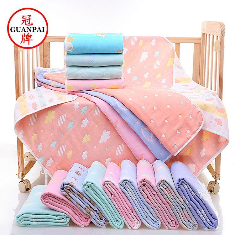 六层纱布童被 新生儿婴儿抱被110*110纯棉卡通宝宝午睡盖毯批发