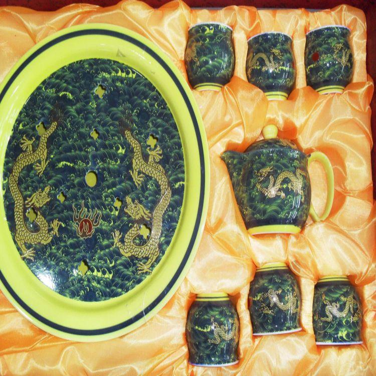 供应厂价七头双层海浪系列茶具加大盘-功夫茶具-茶具批发