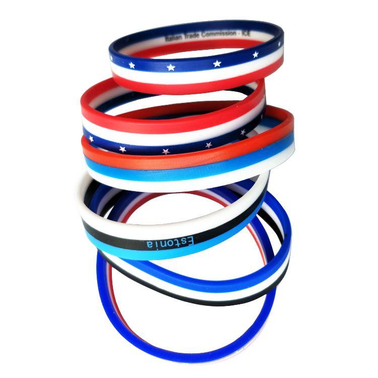 三色分层硅胶手环手腕带广告礼品环保硅胶手环服饰配件东莞厂家定