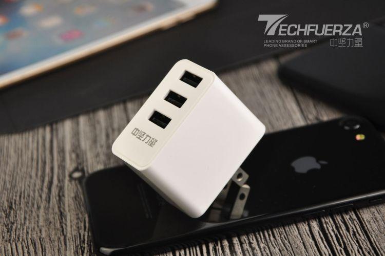 中坚力量 手机充电器 3USB充电头 适用苹果安卓通用数码充电器