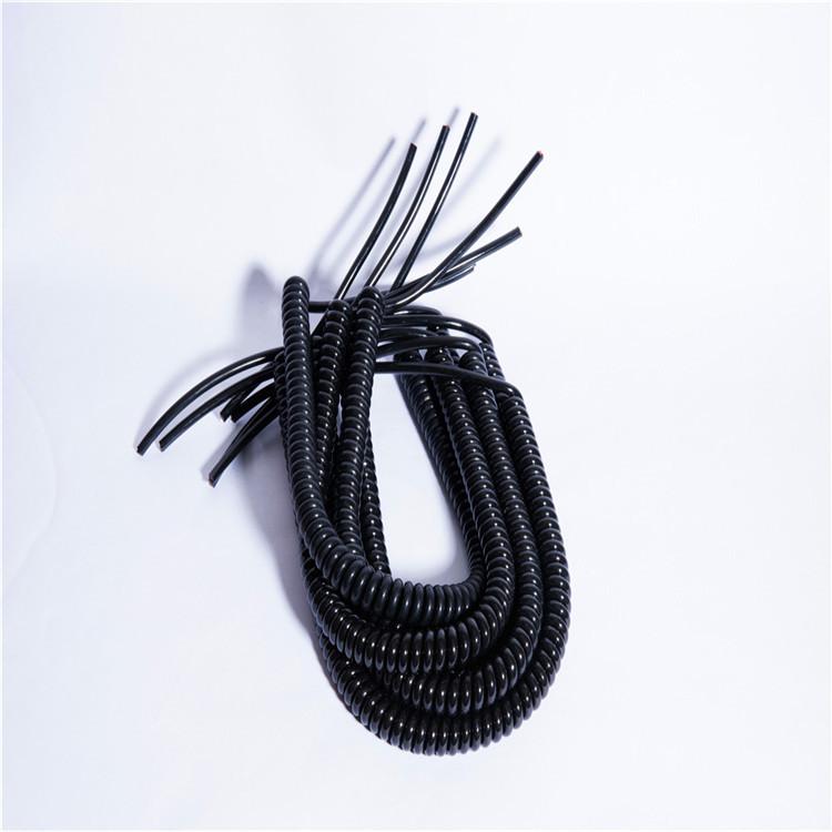 厂家弹簧线PU电源线弹簧连接线4芯弹簧线 螺旋弹簧线可加工定制