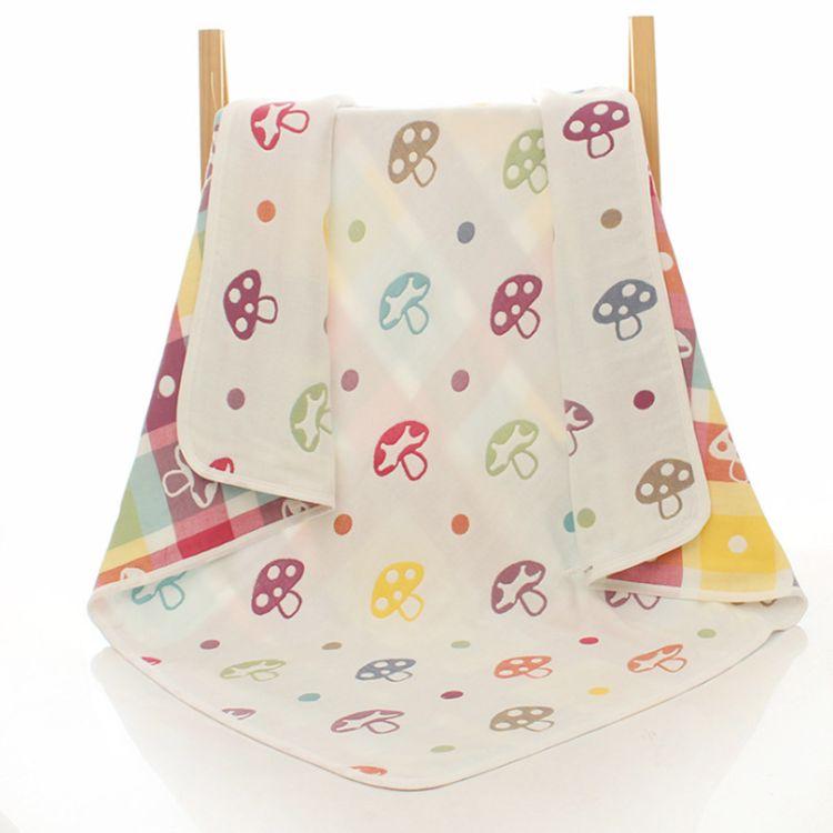 纯棉6层纱布浴巾 儿童纱布浴巾宝宝毛巾被婴幼儿纱布卡通盖毯