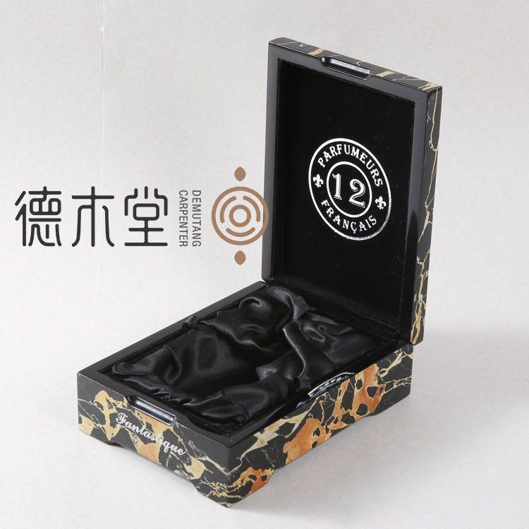 出口中东木质喷漆香水盒 手工贴大理石木纹纸喷漆木盒 香水木盒