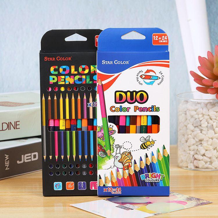 双头彩色24色涂鸦绘画卡通纸盒装儿童学生绘画笔画画笔填色笔彩铅