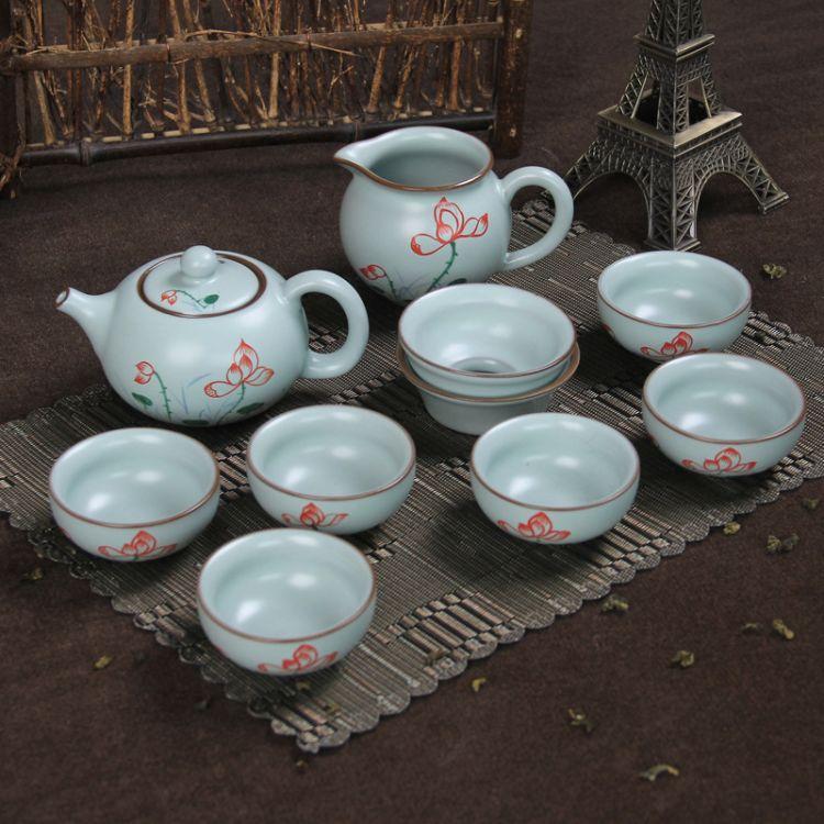 汝窑套装茶具 汝窑茶杯 手绘汝窑茶具 茶具套装 开片汝窑