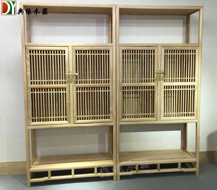 老榆木家具 新中式老榆木免漆书柜茶叶展示柜 茶楼茶空间禅意家具