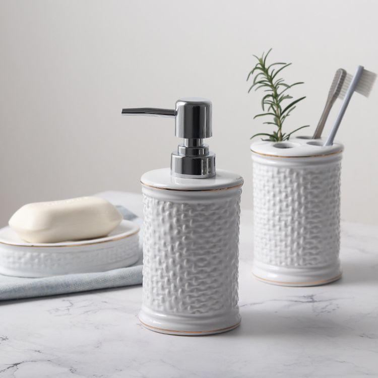 陶瓷卫浴用品洁具套装乳液瓶分装瓶牙刷架香皂碟卫生间洗漱用具