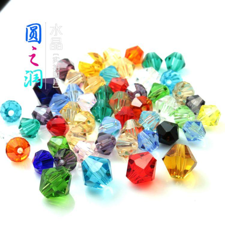 浦江切面批发 水晶菱形玻璃珠 A级水晶玻璃尖珠6MM  珠帘散珠