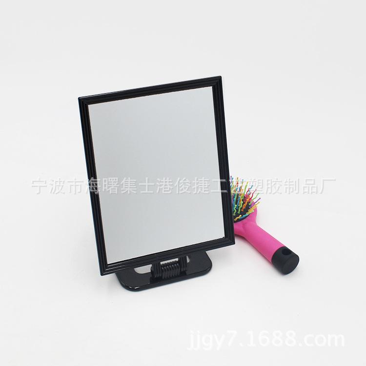 化妆镜厂 时尚简洁黑色塑料双面台式化妆镜 可调节台式化妆镜