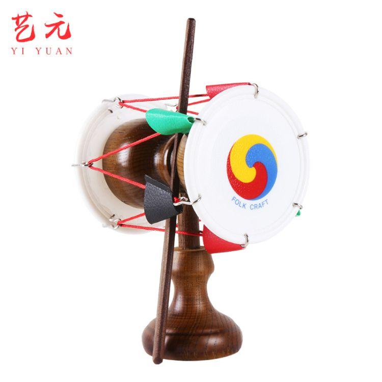韩国工艺品实木小鼓 精美木质装饰鼓 朝鲜族手工艺品底座圆鼓
