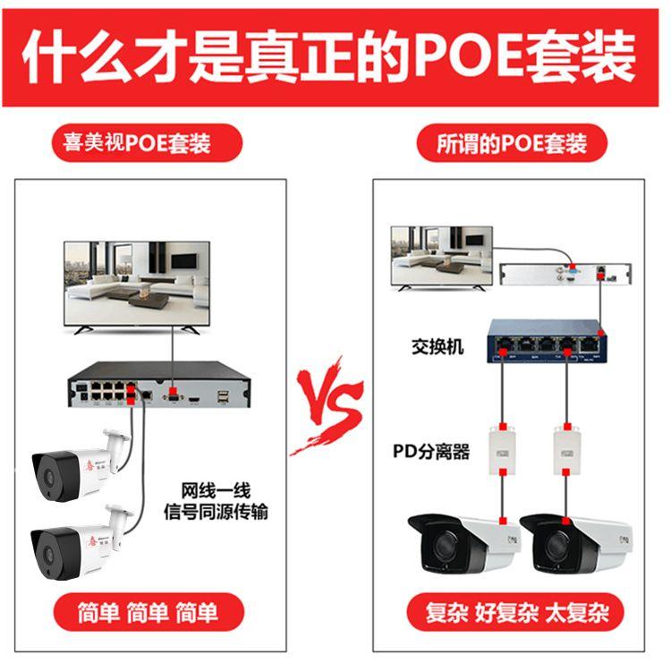 200万监控设备套装POE高清数字网络8路免电源监控网络WiFi摄像机