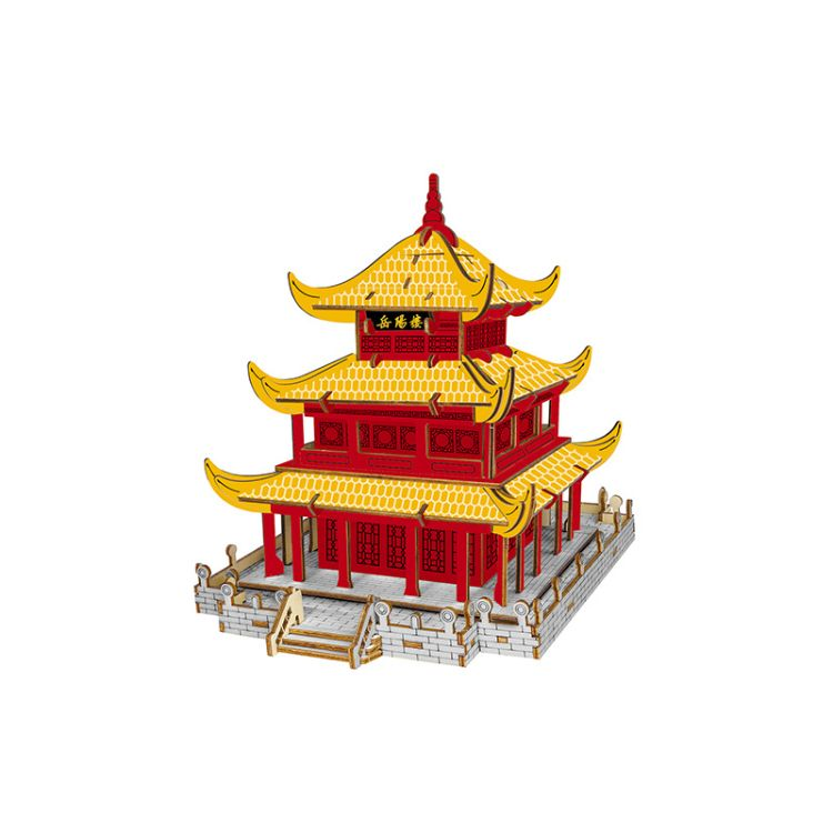 岳阳楼 木头拼装玩具 立体仿真模型木制立体儿童智力拼图
