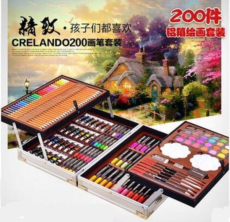 200套件铝盒礼物品儿童水彩笔画笔蜡笔套装礼盒 绘画学习工具箱