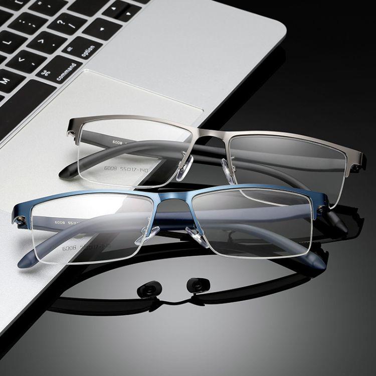 2018新款商務金屬眼鏡框男式半框平光配鏡TR90光學眼鏡