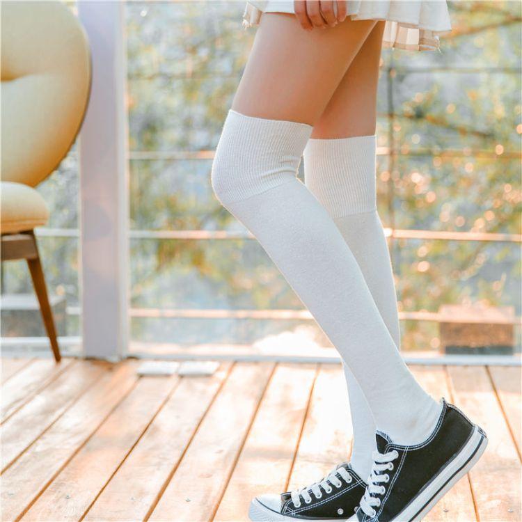 missKing1983秋冬新品日系双针女士过膝长筒袜纯棉学生高筒袜纯色
