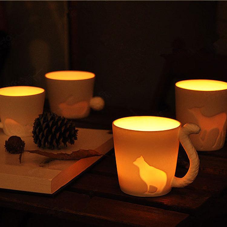 啵啵嘻创意动物陶瓷马克杯咖啡陶瓷水杯子烛台杯可定制LOGO