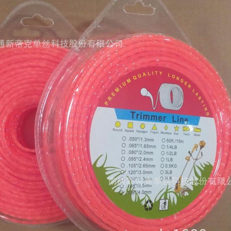 新帝克尼龙割草线,打草绳,trimmer line,3.0mm方形螺旋橘红,泡壳
