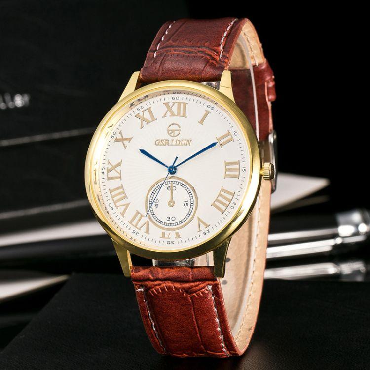 外贸欧美新款时尚 简约带日历男士石英手表