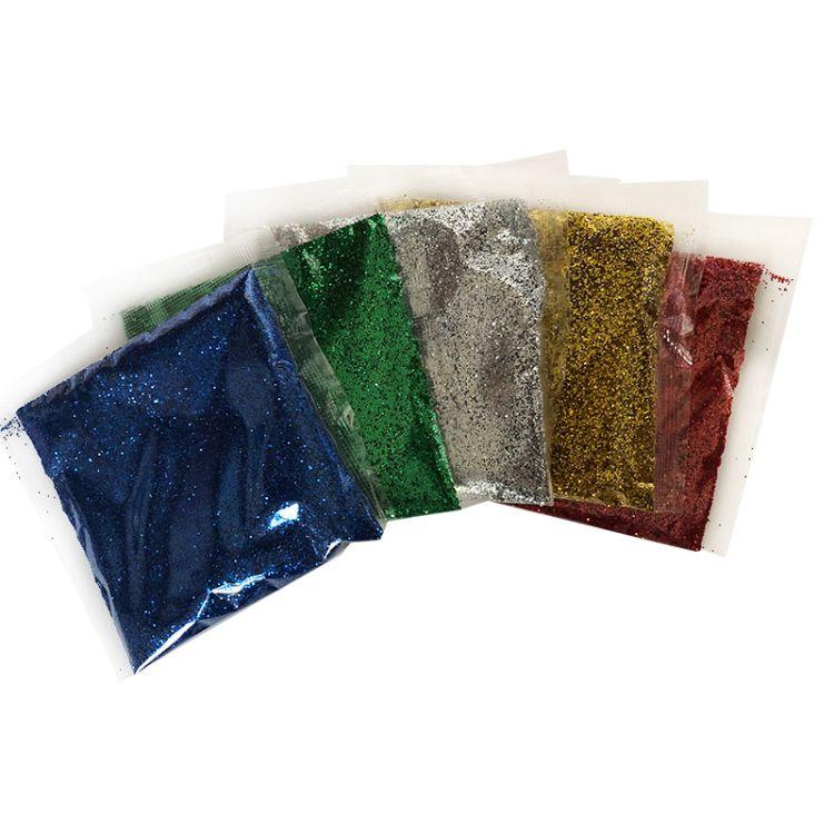 批发生产手工制作材料儿童DIY绘画闪光粉20克5色袋装金葱粉