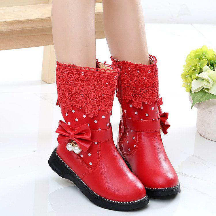新品儿童雪地靴18冬款韩版蕾丝女童高筒靴中大童加厚棉鞋学生靴子