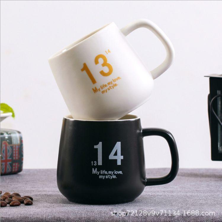 简约马克杯咖啡杯 新骨瓷陶瓷杯情侣水杯 复古马克杯图案定制杯子