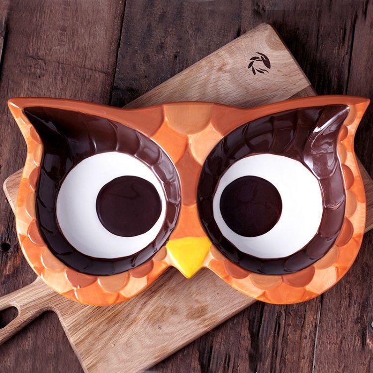 猫头鹰系列西式手绘陶瓷果盘可爱盘子水果盘陶瓷餐具套装多格盘