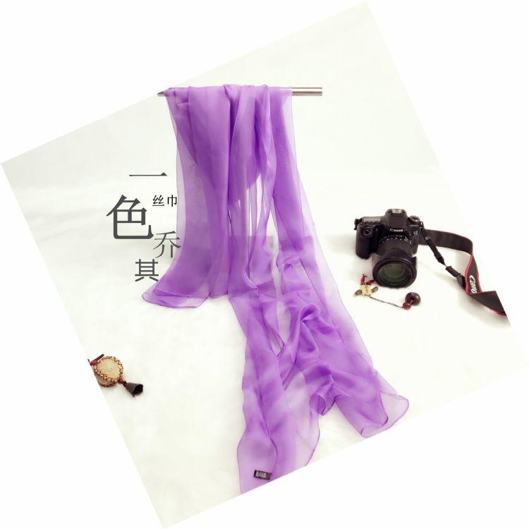 喬其紗絲巾跳舞配飾圍巾淘寶贈品圍巾純色紗巾加大蘇州絲綢女絲巾