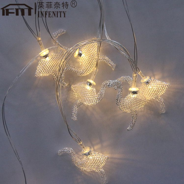 led电池灯铁艺火烈鸟灯串装饰灯圣诞灯LED电池灯