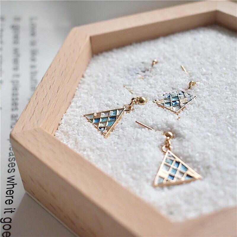 米穗飾品 幾何菱形三角方塊藍色馬賽克耳釘女氣質耳環批發