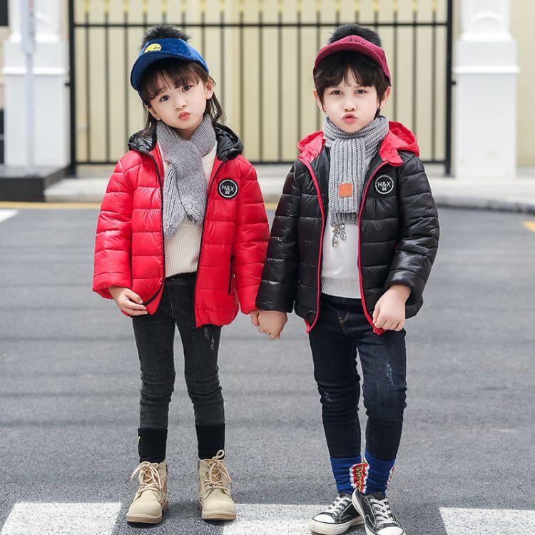 厂家直销新款纯色休闲儿童羽绒服中小童连帽轻薄款羽绒袄量大从优