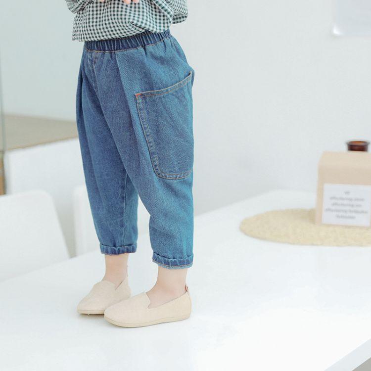 2018秋季新款童装儿童韩版牛仔裤男女童中小童大口袋童裤牛仔垮裤