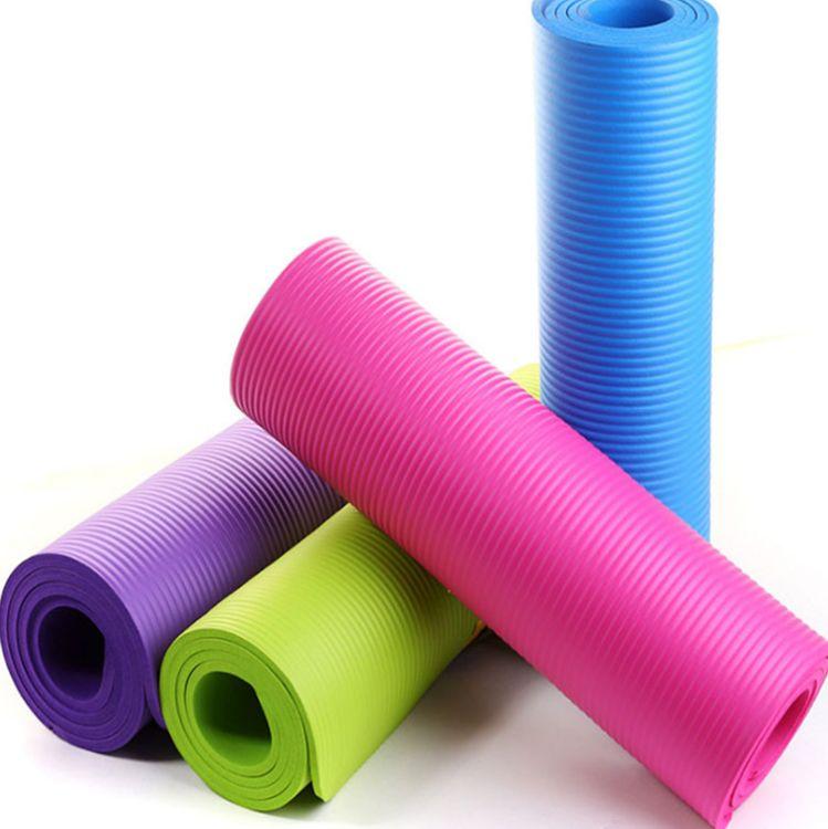 厂家直销10mm加长NBR瑜伽垫加宽瑜珈垫多功能运动健身瑜伽垫