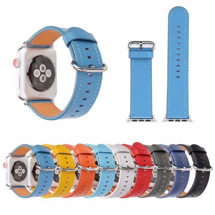 熱銷經典荔技紋真皮表帶適用于 蘋果 iwatch 1 2 3 4代手表表帶
