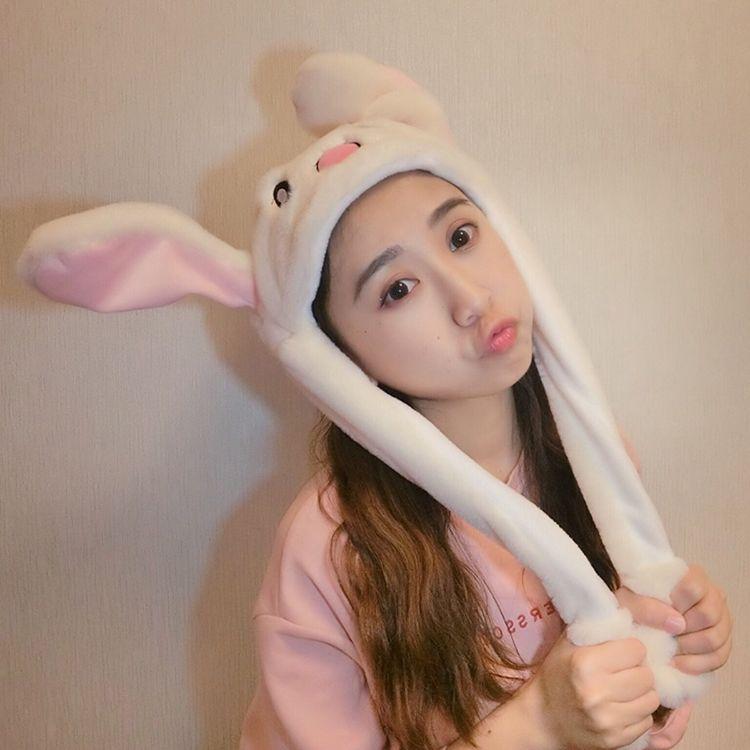 抖音同款兔子耳朵帽子网红同款二次元可爱气囊捏耳朵会动的兔子帽