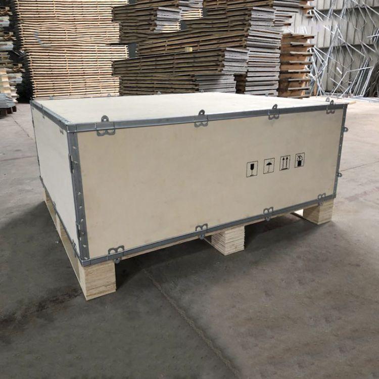钢带包边木箱 汽车零件包装木箱 出口钢带箱 卡扣木包装箱
