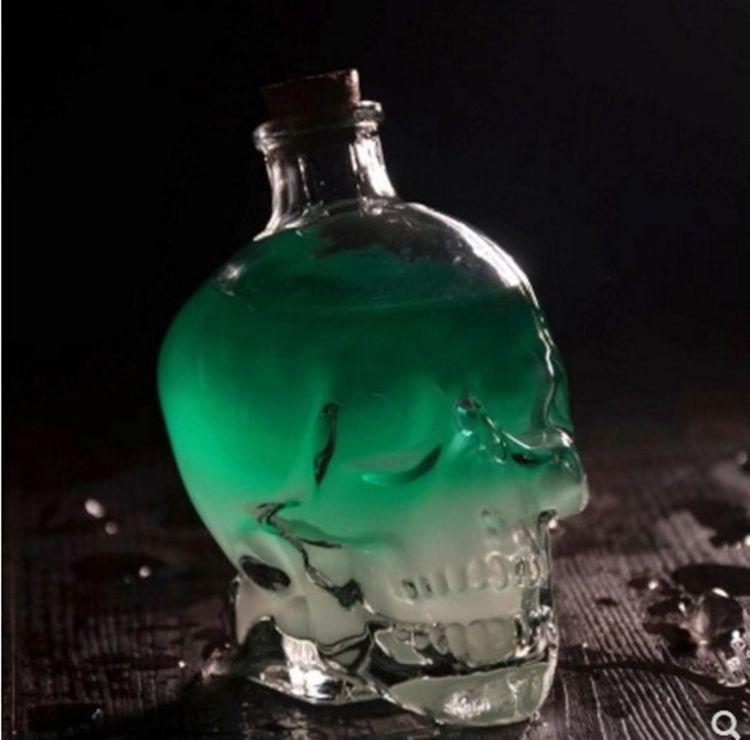 骷髅头酒瓶创意酒瓶玻璃骷髅酒杯葡萄酒红酒瓶自酿酒瓶泡酒瓶酒具