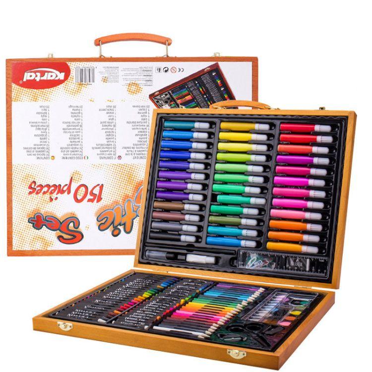 150件木盒水彩笔套装蜡笔绘画工具儿童画画美术用品暑期开学文具
