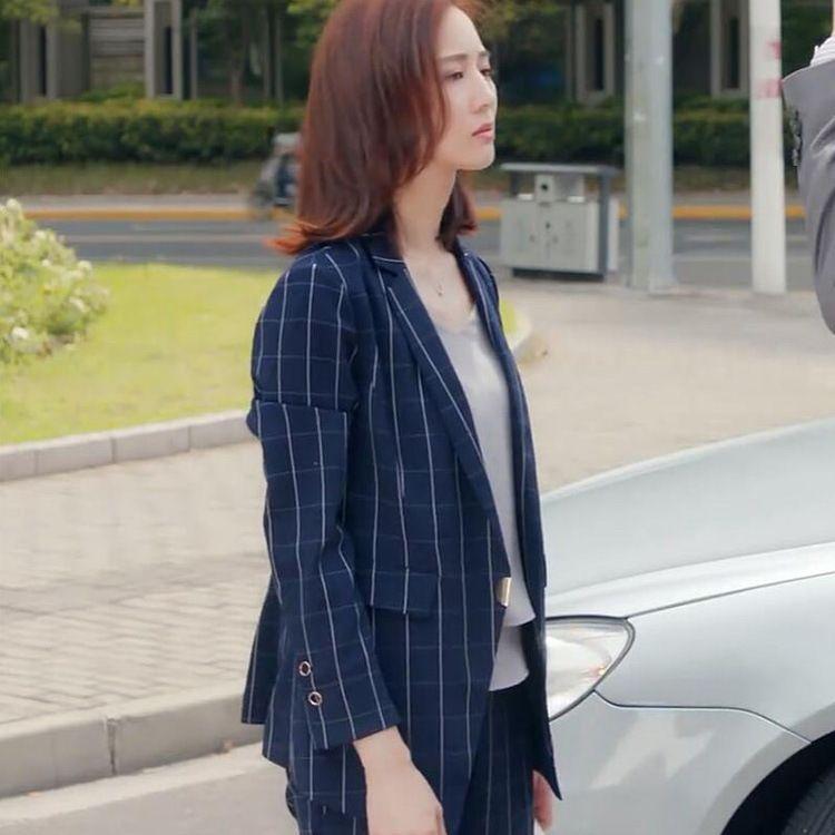 张钧甯明星私衣同款2018早秋新款条纹西装外套职业套装女一件代发